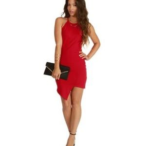 Windsor Red Asymmetrical Bodycon Dress